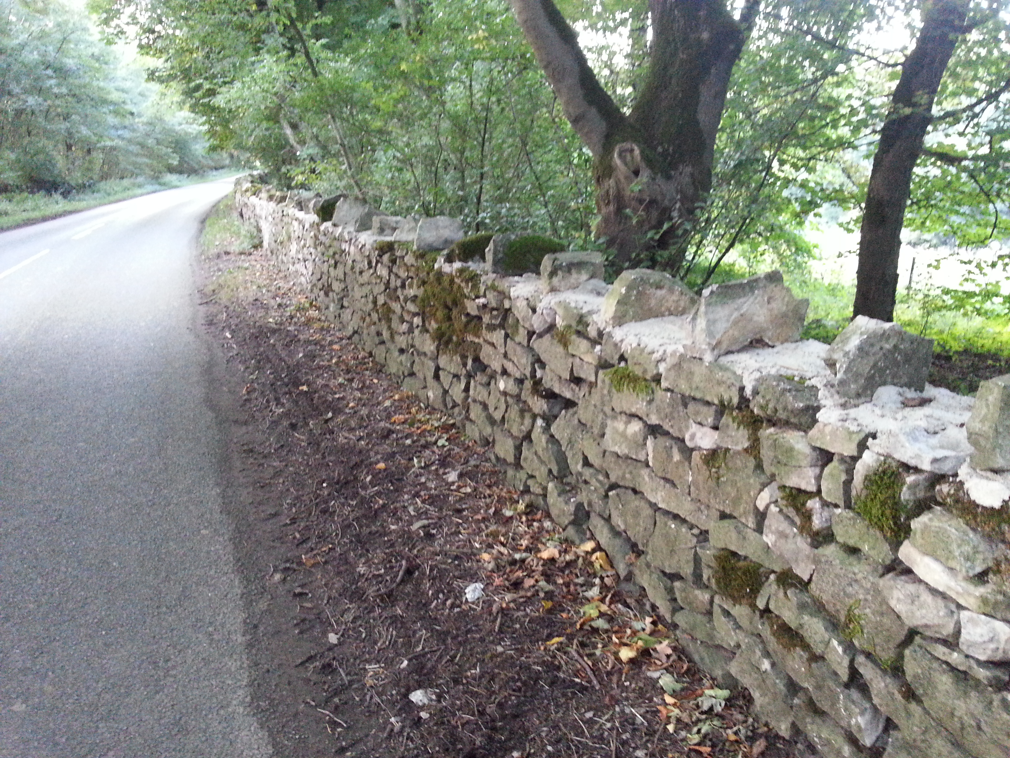 Dry stone wall after repairs
